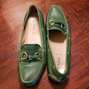 38.5 Prada green leather loafers
